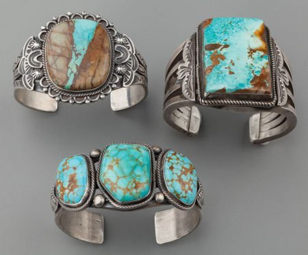 71020: THREE NAVAJO SILVER AND TURQUOISE BRACELETS c. 1
