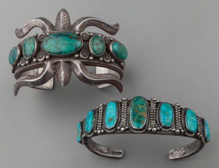 71022: TWO NAVAJO SILVER AND TURQUOISE BRACELETS c. 194
