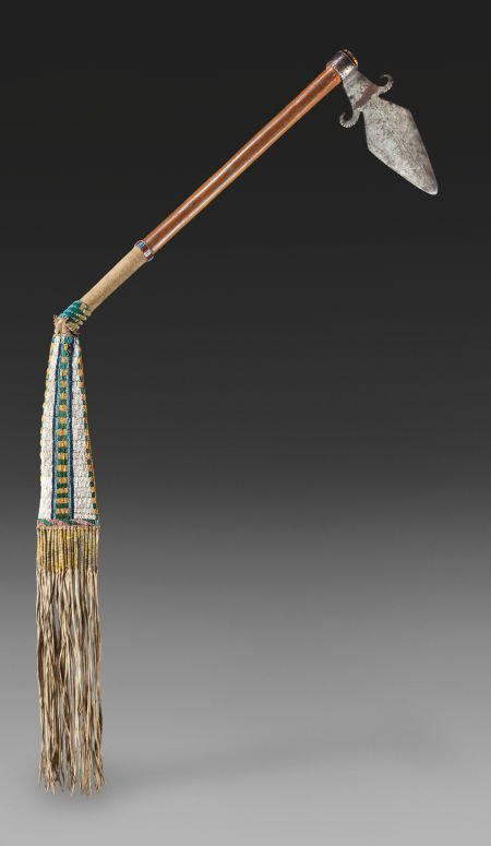 71146: A  SUPERLATIVE SIOUX SPONTOON TOMAHAWK WITH BEAD