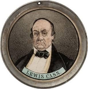 42247: Lewis Cass: Pewter Rim Mirror.