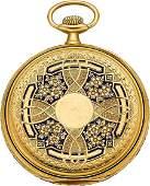 56124 Longines 18k Gold  Enamel Pocket Watch circa 1