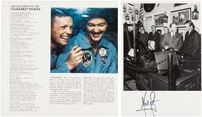 52162: Neil Armstrong Signed Photo and Twice-Signed Pro