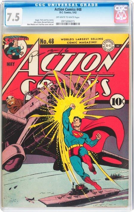 91008: Action Comics #48 (DC, 1942) CGC VF- 7.5 Off-whi