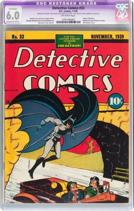 91091: Detective Comics #33 (DC, 1939) CGC Apparent FN
