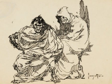 "92011: Frank Frazetta ""Two Old People"" Sketch Original"