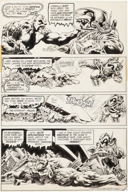 """92021: Bernie Wrightson Swamp Thing #9 """"The Stalker Fro"""