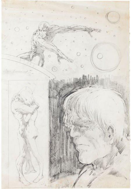 92420: Barry Smith Silver Surfer and Hulk Sketch Origin