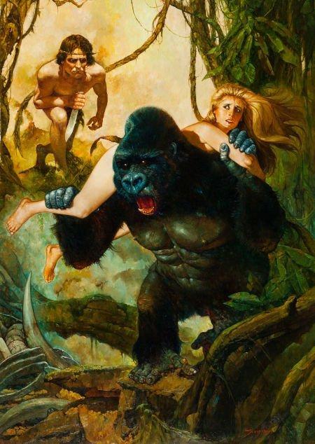 92390: Manuel Sanjulian - Tarzan Painting Original Art