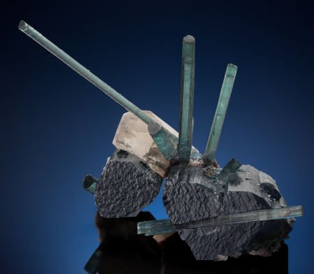 "73105: TOURMALINE on TOURMALINE with QUARTZ - ""BLUE ON"