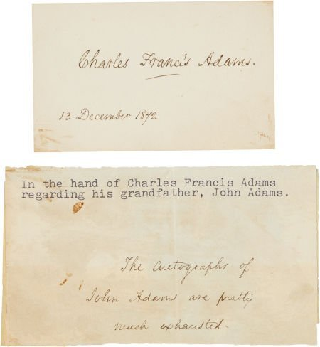 47002: Charles Francis Adams Signature on a Card,