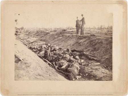 47018: Brady Photograph of Confederate Dead in a Ditch