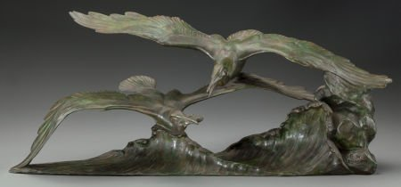 62011: FRENCH ART DECO BRONZE OF TWO SEAGULLS BY GEORGE