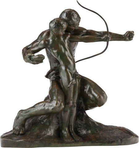 62014: AMADEO GENNARELLI BRONZE 'THE YOUNG ARCHER' Circ