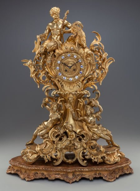 62300: A LOUIS XV-STYLE GILT BRONZE MANTLE CLOCK ON A G