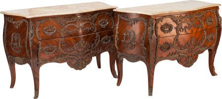 62305: A PAIR OF LOUIS XV-STYLE BRONZE MOUNTED KINGWOOD