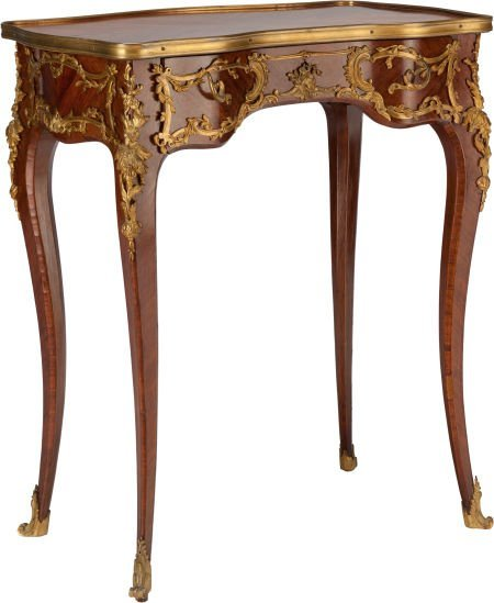 62309: A LOUIS XV-STYLE MAHOGANY AND GILT BRONZE TABLE