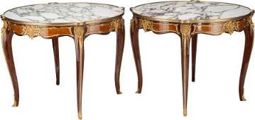 62314: A PAIR OF LOUIS XV-STYLE MAHOGANY, EXOTIC WOODS