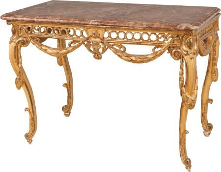 62317: A LOUIS XV-STYLE CARVED GILTWOOD TABLE WITH ROUG