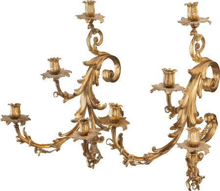 62318: A PAIR OF LOUIS XV-STYLE GILT BRONZE FOUR-LIGHT