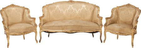 62319: A THREE PIECE LOUIS XV-STYLE UPHOLSTERED GILT WO