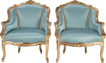 62320: A PAIR OF LOUIS XV-STYLE UPHOLSTERED GILT WOOD B