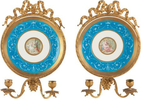62321: A PAIR OF CONTINENTAL GILT BRONZE MOUNTED PTE-S