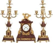 62513: A THREE PIECE LOUIS XVI-STYLE GILT BRONZE AND RO