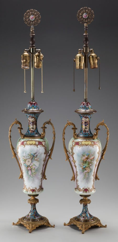 62551: A PAIR OF SEVRES-STYLE PORCELAIN, GILT BRONZE AN