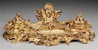 63150: A LOUIS XV-STYLE GILT BRONZE ENCRIER, circa 1865