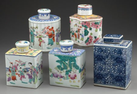 63403: A GROUP OF FIVE CHINESE POLYCHROME PORCELAIN TEA