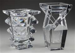 63479 TWO BACCARAT CLEAR GLASS VASES Baccarat France