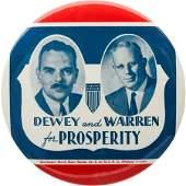43161 Dewey  Warren A Very Rare 6 Celluloid Button