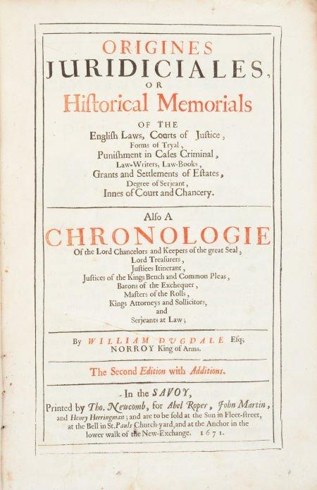 45020: William Dugdale. Origines Juridicales, Or Histor