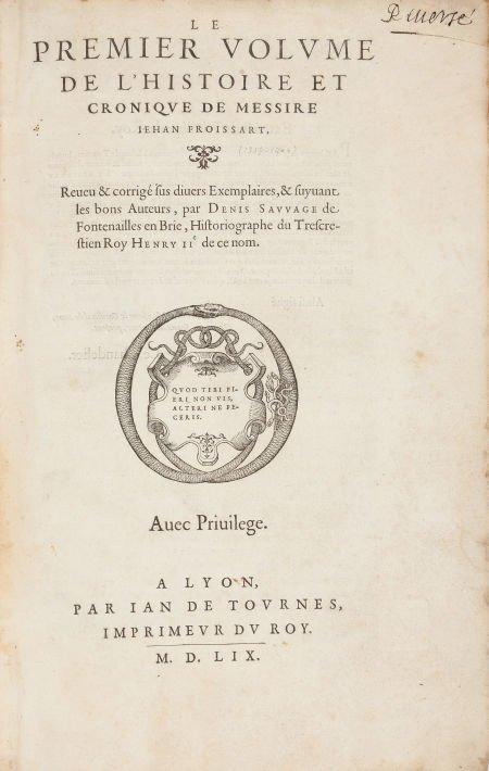 45023: Jean Froissart. Le Premier [Second, Tiers, Quart