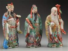 63447: Three Chinese Polychrome Porcelain Figures: Scho