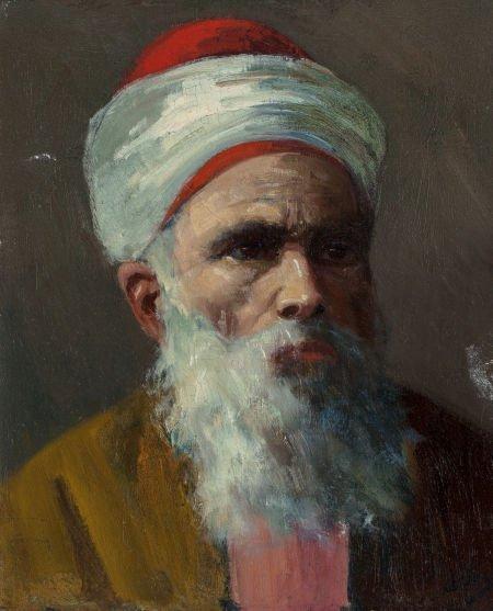 63725: American School (19th Century) Head of a Bearded