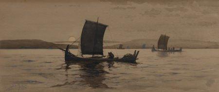 63730: Milton James Burns (American, 1853-1933) Sailing