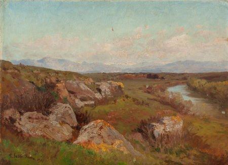 63741: Pietro Sassi (Italian, 1834-1905) Landscape outs