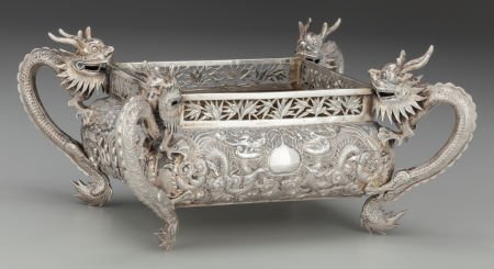 63971: A Wing Fat Chinese Export Silver Jardinière, Can