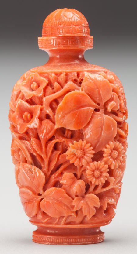 64048: A Chinese Carved Coral Snuff Bottle 2 inches hig