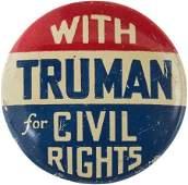 42356 Harry S Truman Rare Civil Rights Slogan Button