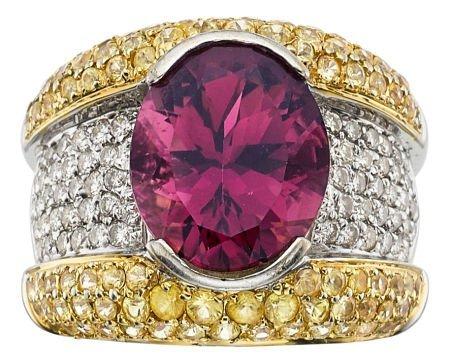 54006: Rubellite Tourmaline, Diamond, Sapphire, Gold Ri