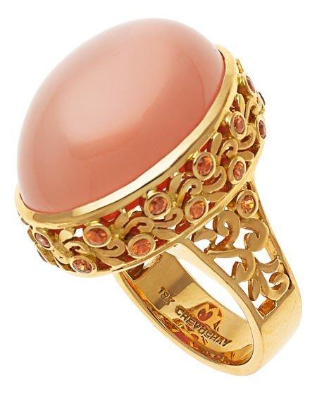54018: Moonstone, Garnet, Gold Ring, Paula Crevoshay  T