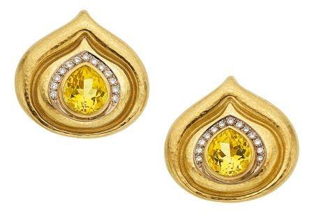 54019: Diamond, Yellow Beryl, Gold Earrings, Elizabeth