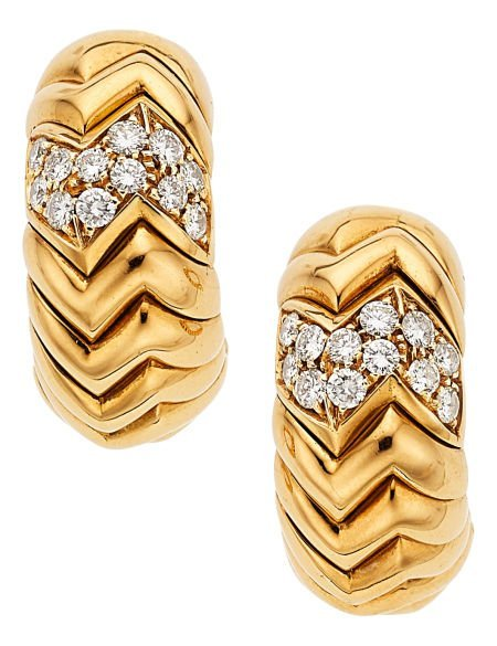 54020: Diamond, Gold Earrings, Bvlgari  The Spiga Colle
