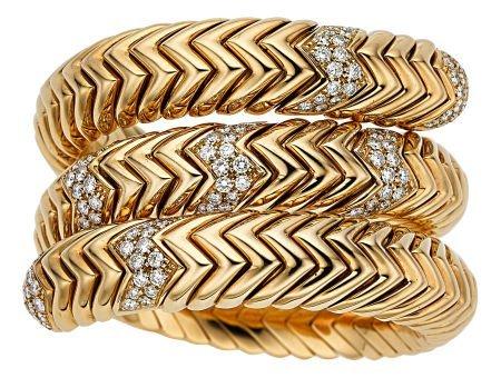 54022: Diamond, Gold Bracelet, Bvlgari  The Spiga brace