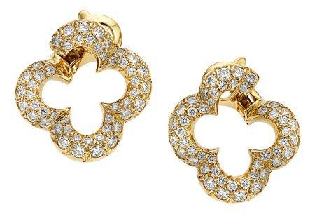 54023: Diamond, Gold Earrings, Van Cleef & Arpels  The