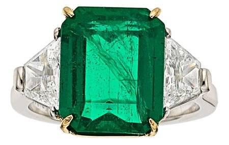 54129: Emerald, Diamond, Platinum, Gold Ring, Piranesi