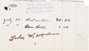 51076: John Wesley Hardin Signed Bar Tab. This 1895-dat