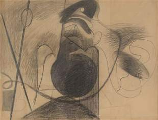 69022: Arshile Gorky (1904-1948) Untitled (X on Brown P